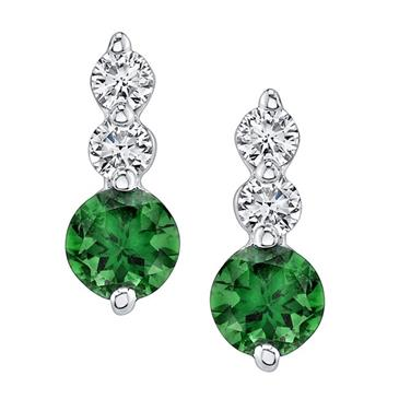Barkevs WHITE GOLD GREEN TOURMALINE EARRINGS