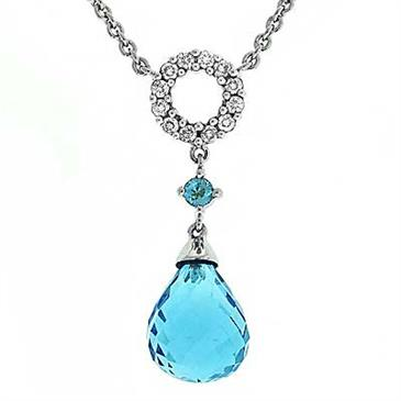 Prima Blue Topaz & Diamond Necklace