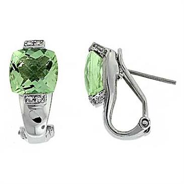 Prima Green Amethyst & Diamond Earrings