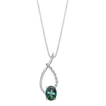 Barkevs WHITE GOLD GREEN TOURMALINE PENDANT